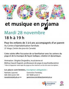 Yoga et musique en pyjama @ Centre d'alphabétisation familiale